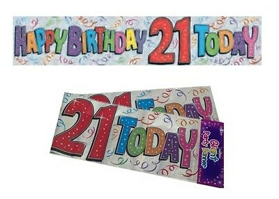 9ft Long Extra Wide Happy Birthday 21 Today 21st Holographic Foil Banner - New