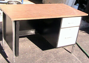 Table, wood, bench  Steel legs, with  two drawer