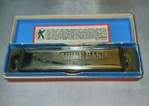 Vintage Marine Band Hohner Harmonica Made in Germany 12 Hole Key of C w/Box