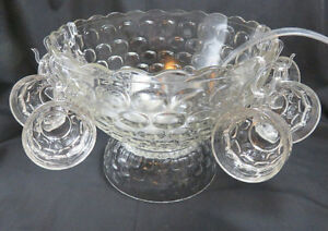 REDUCED AGAIN Vintage Jubilee Thumbprint Punch Bowl Set -