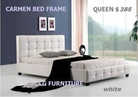 ((WOW)) 100% NEW COMPLETE LEATHER BED FRAME + MATTRESS