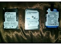 4x Laptop/Ps3 Hard Drives