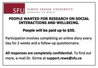 SFU RESEARCH ON SOCIAL INTERACTIONS AND WELLBEING [EARN $30]