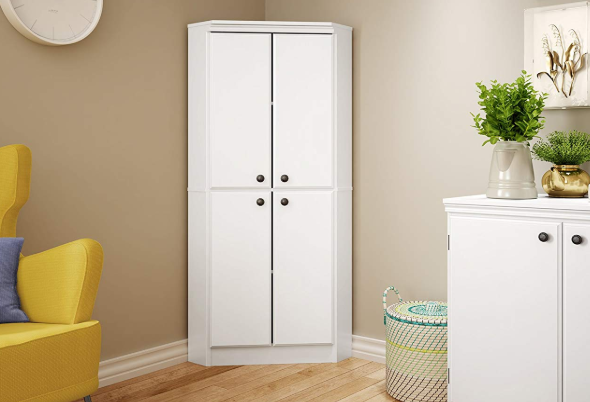 Details about Corner Kitchen Cabinet Storage Pantry White Tall Bathroom  Cupboard Shelves Doors