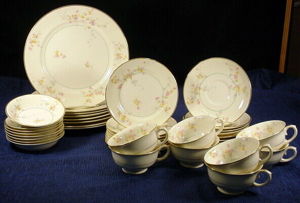 BEAUTIFUL VINTAGE POPE GOSSER CLEMENTINE FINE CHINA SET Service For 8