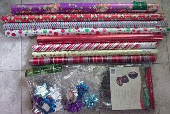 Lot of 7 New Rolls of Christmas Wrapping Paper 340 sq ft + G
