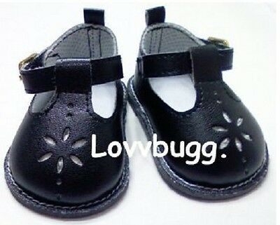 "Lovvbugg Black T-Strap Mary Janes for 18"" American Girl n Bitty Baby Doll Shoes"