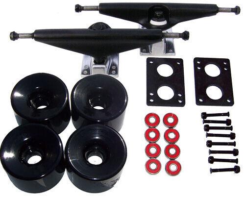 LONGBOARD Skateboard BLACK TRUCKS 76mm BLACK WHEELS Package FREE SH
