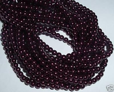 AL122 CZECH 4mm ROUND Faux PEARL Glass Beads-PLUM PURPLE (110) Czech Glass Faux Pearls Beads