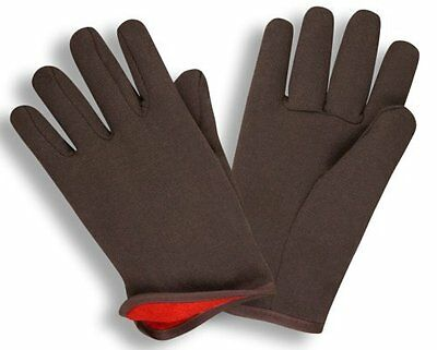 G & F 4414 Brown Jersey Winter WorkGloves with Red Fleece Lined, Large, 12 - Red Fleece Lined Jersey Gloves