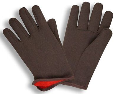 G F 4414 Brown Jersey Winter Workgloves With Red Fleece Lined Large 12 Pairs
