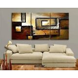 Large Modern Contemporary 3-Piece Oil On Canvas Painting Abstract No Frame NEW