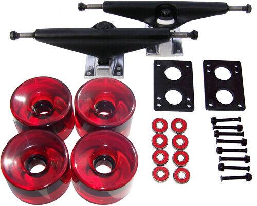 7.0 BLACK LONGBOARD Skateboard TRUCKS 76mm RED WHEELS