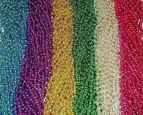 """One Dozen (12) Mardi Gras Beads Necklaces Party Favors 6 Colors Lot 7mm 33"""""""