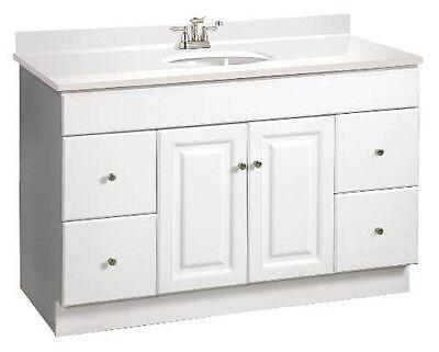 "Design House Wyndham 48"" White RTA Bathroom Vanity 4 Drawer Cabinet Only"
