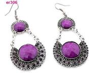 Purple Rhinestone Earrings
