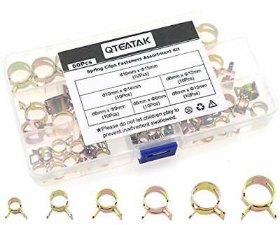 QTEATAK 60 Pcs Fuel Silicone Vacuum Hose Spring Band Action Pipe Clamp Low Pr...
