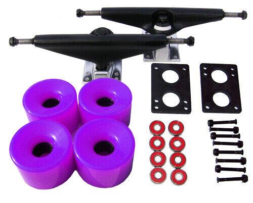 LONGBOARD Skateboard BLK TRUCKS 70mm PURPLE WHEEL Pack