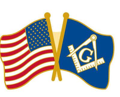 Freemasons Masonic Mason Lapel / Hat Pin Tie Tack with American Flag Brand New