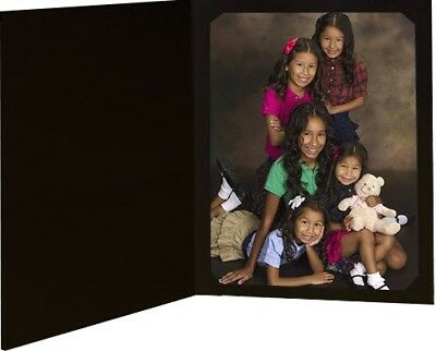 Black Slit-Corner Cardboard Photo Folder - Holds a 4x6 or 5x7 Photo - Pack of -