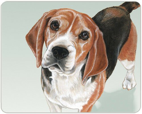 "Beagle Cutting Board Tempered Glass 8"" x 10"""