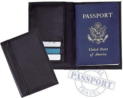 Passport Holder Black Leather Cover Credit Card ID License Travel Wallet Book
