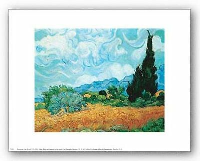ART PRINT Yellow Wheat and Cypresses Vincent van Gogh 10x8