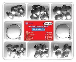 100Pcs Dental Matrix Sectional Contoured Metal Matrices No.1.398 + 2 Rings