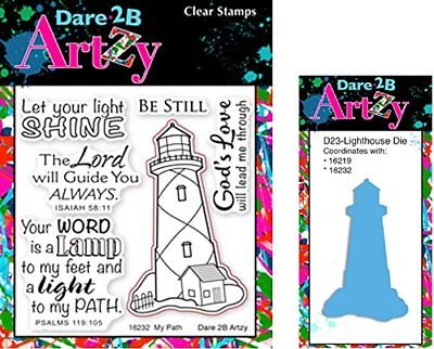 Dare Rubber (Dare 2B Artzy My Path Lighthouse Clear Cling Rubber Stamps (16232) and Steel)