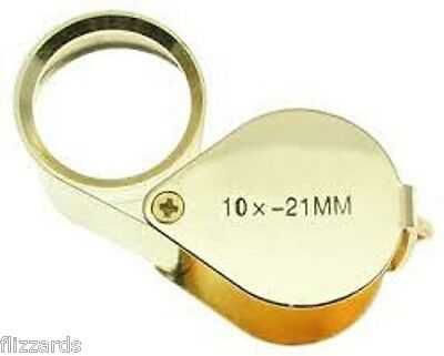 10x Magnifiying Gold Jewelers Loupe 21mm Glass Lens with Case