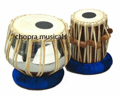 Tabla Drum Set Nickel Plated Pro Brass Bayan Handmade Dayan+Hammer+ Rings & Box