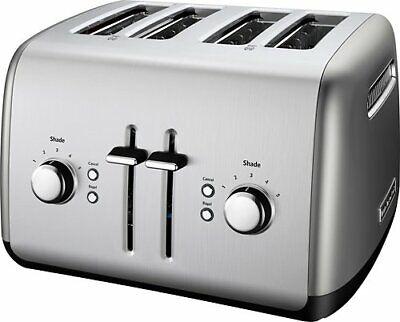 KitchenAid - KMT4115CU 4-Slice Wide-Slot Toaster - Contour Silver