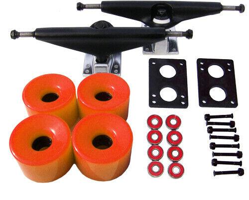 7.0 BLACK LONGBOARD Skateboard TRUCKS 70mm ORANGE WHEEL Pack