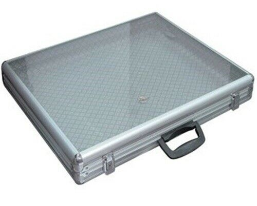 "Key Locking Large Aluminum Tempered Glass-Top Display Case 34"" W x 22"" D x 3"" H"