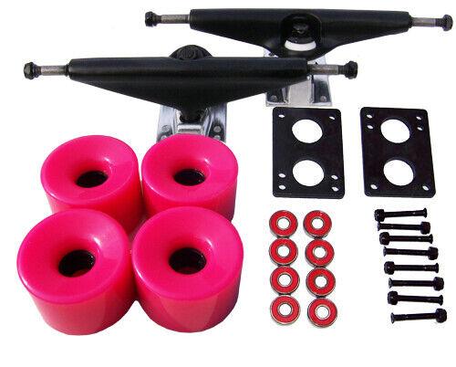 LONGBOARD Skateboard BLACK TRUCKS 70mm PINK WHEEL Pack