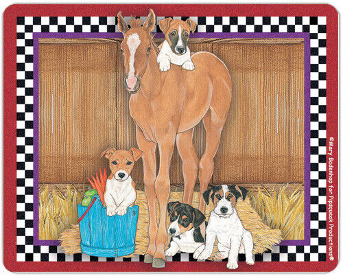 Jack Russell with Horse Small Cutting Board