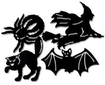 Shadow Silhouette Large Cardstock Halloween Shapes Wall windows  witch bat