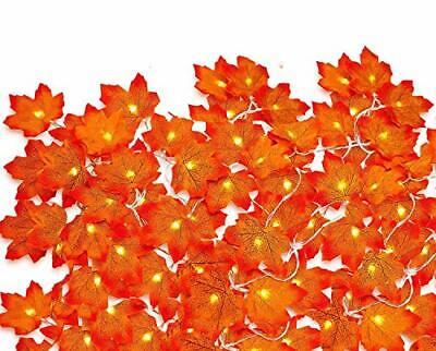16.5FT Thanksgiving Harvest Maple Leaves Lighted Fall Garland 60LED String Light