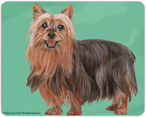 "Silky Terrier Cutting Board Tempered Glass 8"" x 10"""