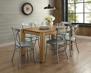 rustic wood dining table brown distressed farmhouse style thick legs seats 6