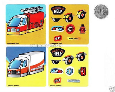 6 Make A Rescue EMT Fire Truck Ambulance Stickers Party Goody Bag Favor Supply