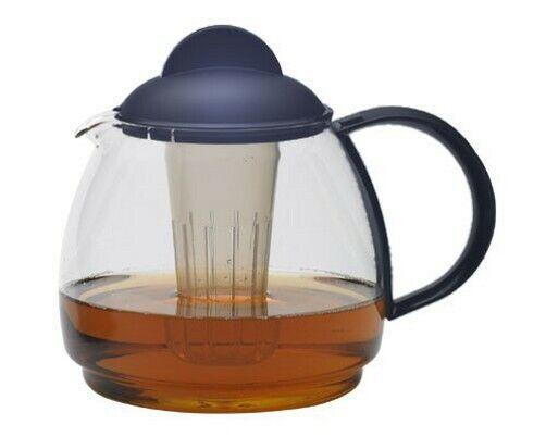 Teekanne Glaskanne Tee Kanne KRUG Boral Glas 1,8l blau Trendglas Jena