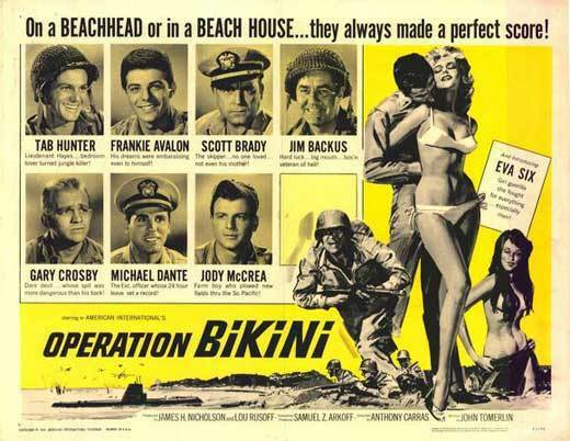 OPERATION BIKINI Movie POSTER 22x28 Half Sheet Tab Hunter Frankie Avalon Scott