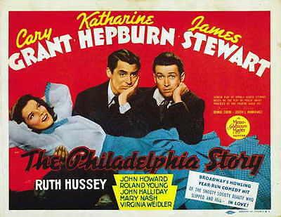 THE PHILADELPHIA STORY Movie POSTER 22x28 Half Sheet Katharine Hepburn Cary