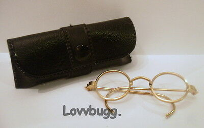 "Gold Eyeglasses w Case for 18"" American Girl n Bitty Doll Accessory"