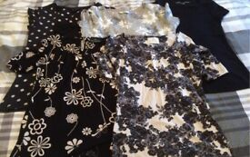 Bundle of ladies clothes trousers, tops, etc (see all pics)