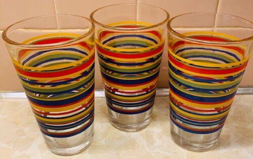(3) LIBBEY MAMBO FIESTA STRIPPED TALL DRINKING GL TUMBLERS 5 3/4