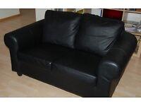 Ikea black leather sofa