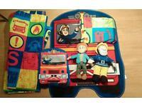 Fireman sam kids bedroom bundle - curtains, blanket, rug, Pyjama case and Sam toy
