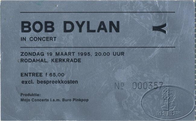 BOB DYLAN 1995 Concert Ticket Stub Netherlands Rodahal